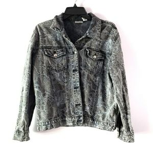 Chico's Denim Chambray Jacket Floral Size 1